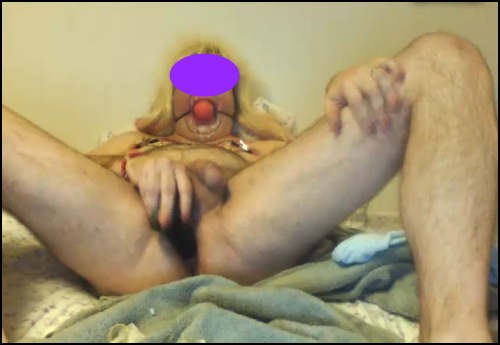 sissy slut on skype dildoing his ass while wearing a ball gag